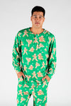 The Ninja Bread | Men's Green Gingerbread Christmas Pajama Top