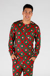 The Quilty Pleasure | Mens Red And Green Quilted Christmas Pajama Top