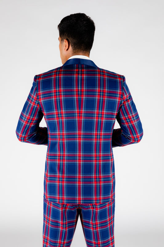 blue and red plaid tux jacket