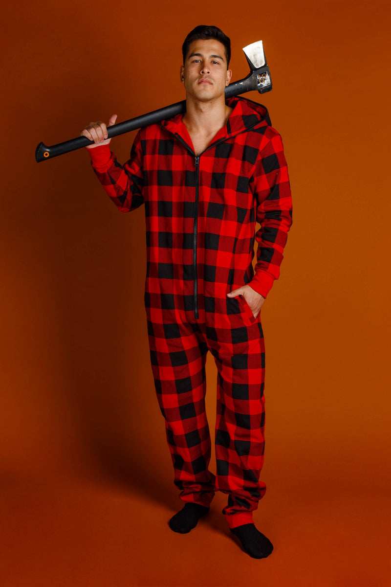 red plaid men's adult onesie