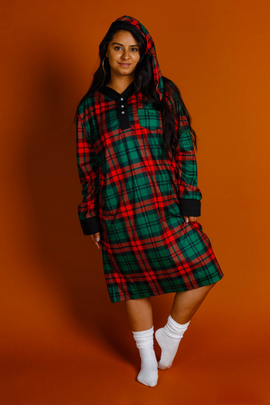Women's nightcap and nightgown red and green plaid