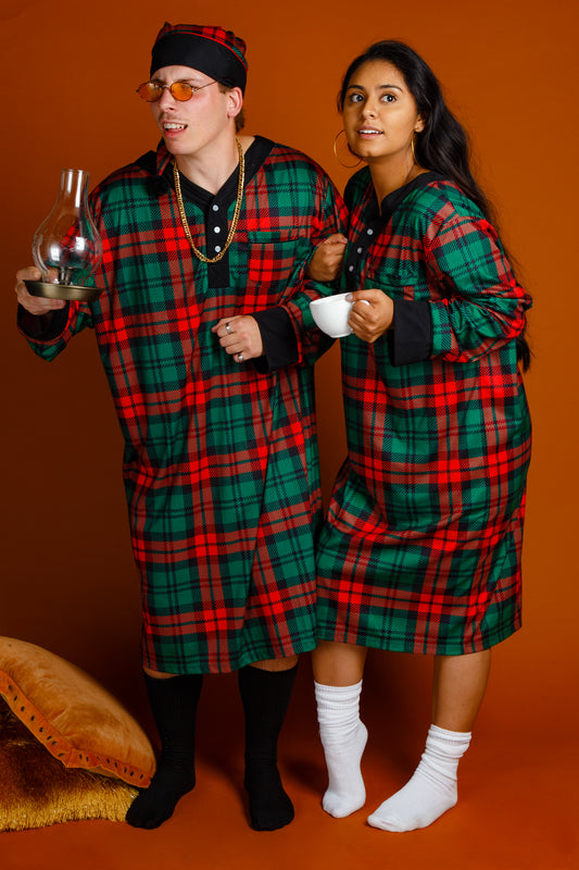 Couples matching plaid holiday pjs