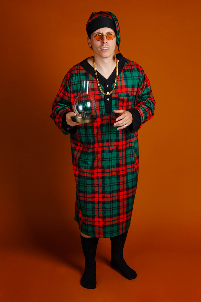 The Lincoln Log Love Daddy | Red and Green Plaid Christmas Nightgown and Cap