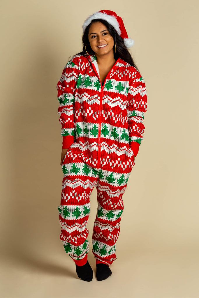 The Red Ryder | Ladies Unisex Knit Print Christmas Onesie