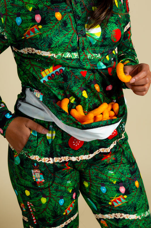 Holiday Pajamas with Christmas Decorations