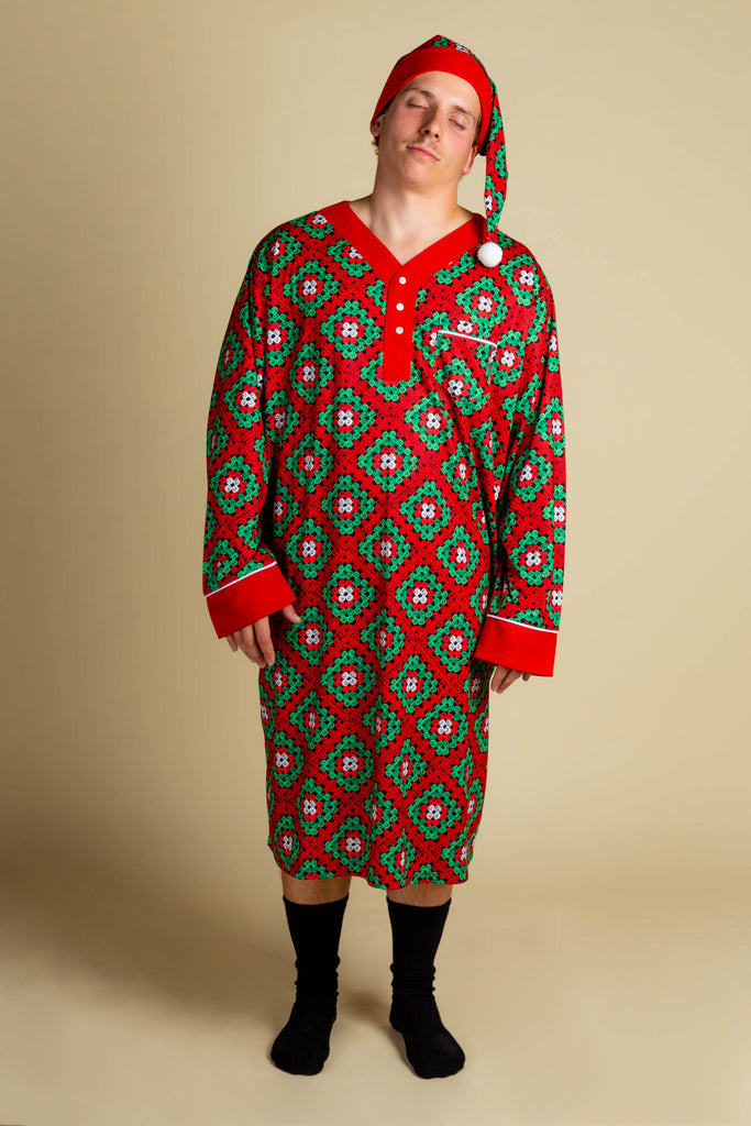 The Quilty Pleasure | Red And Green Quilted Christmas Nightgown And Cap
