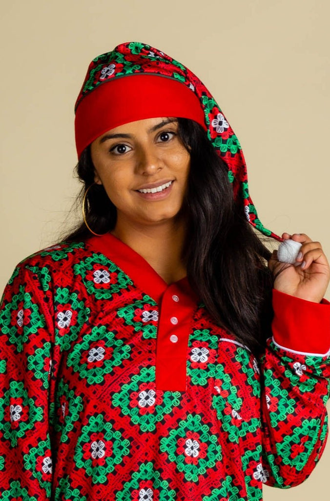 The Quilty Pleasure Cap | Red And Green Quilted Christmas Cap