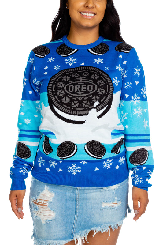 Front of OREO Christmas sweater
