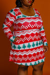 Reversible neckline ladies Christmas dress