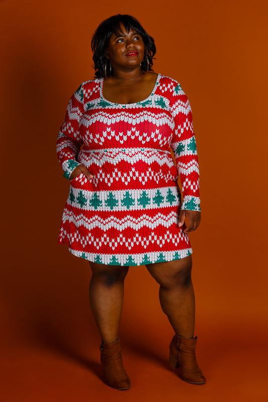 Red and green ladies Christmas dress