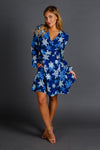 The Young Frosty | Blue Snowflake Wrap Dress