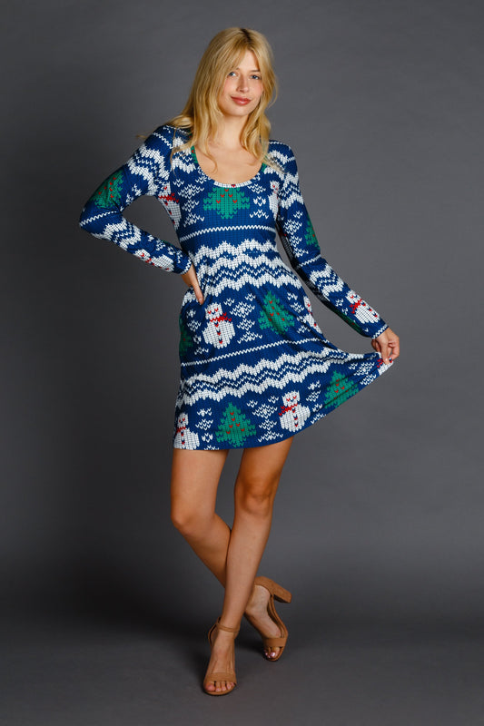 ladies winter print blue christmas dress