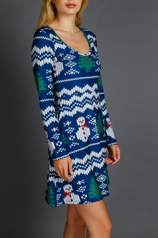 women's blue and white christmas dress