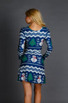 festive blue christmas dress for women
