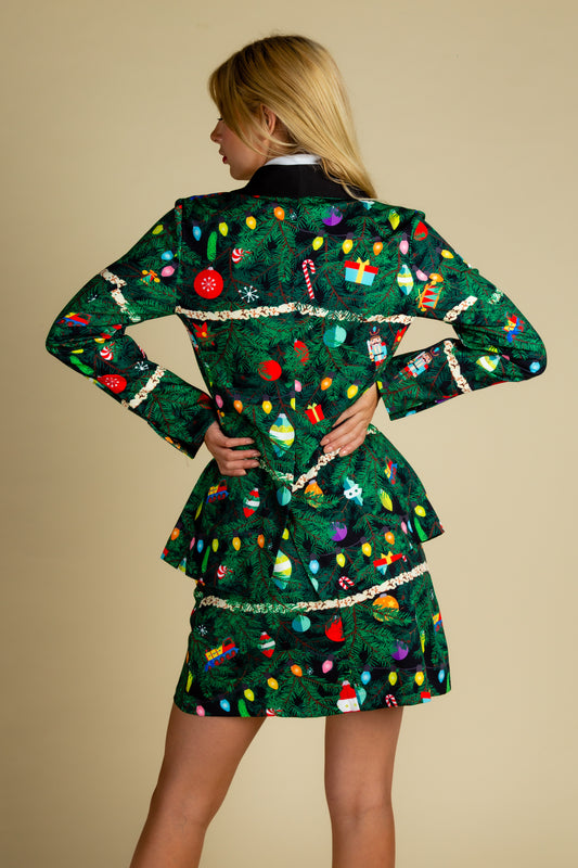 decorated holiday print suit jacket