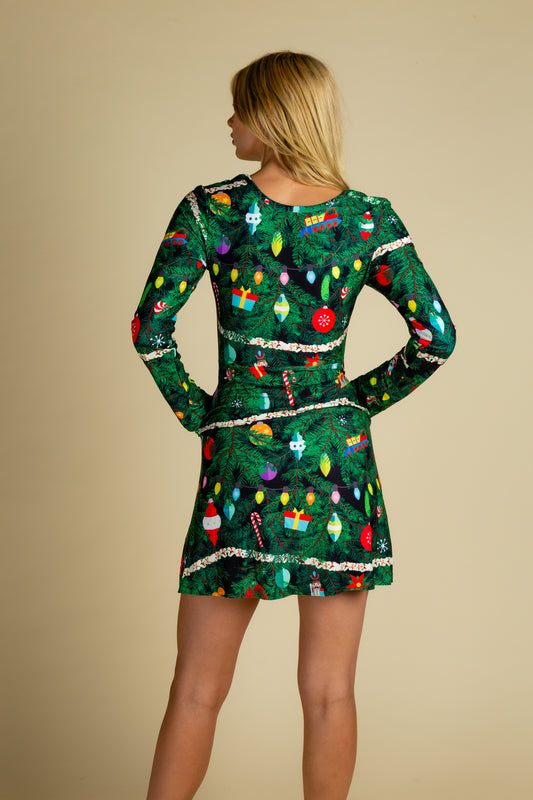 ladies xmas tree print camouflage dress
