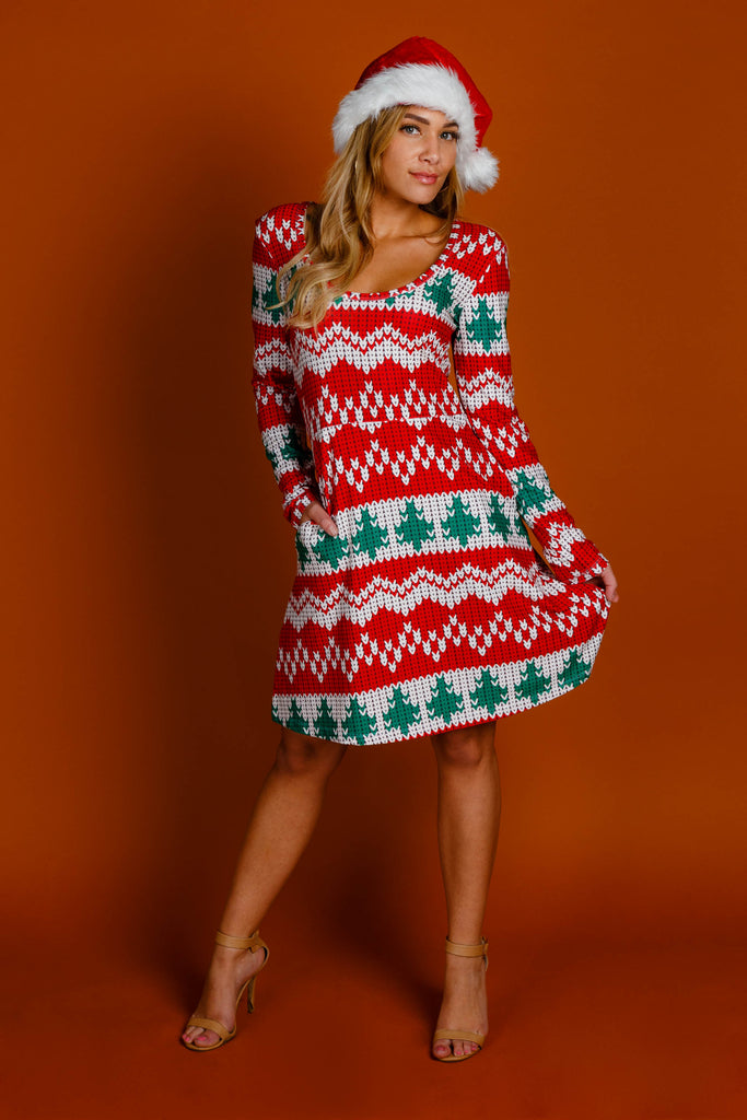 The Red Ryder | Reversible Knit Print Christmas Skater Dress