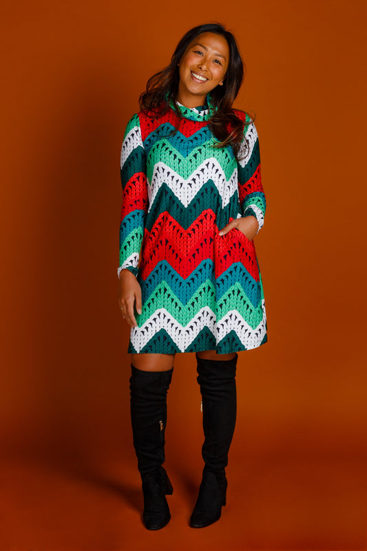 Knit print Christmas turtleneck dress
