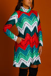 Knit print holiday turtleneck dress
