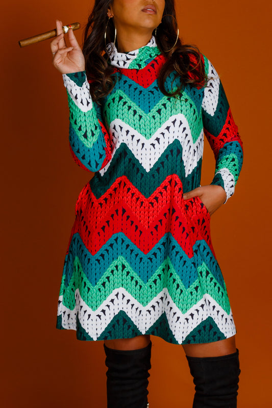 Ladies knit print Christmas dress