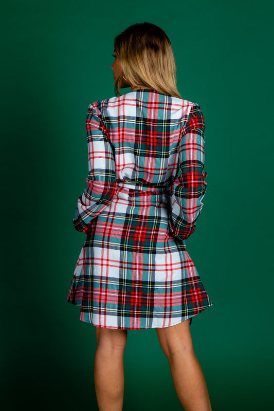 The Scotch on the Rocks | White & Red Plaid Christmas Wrap Dress