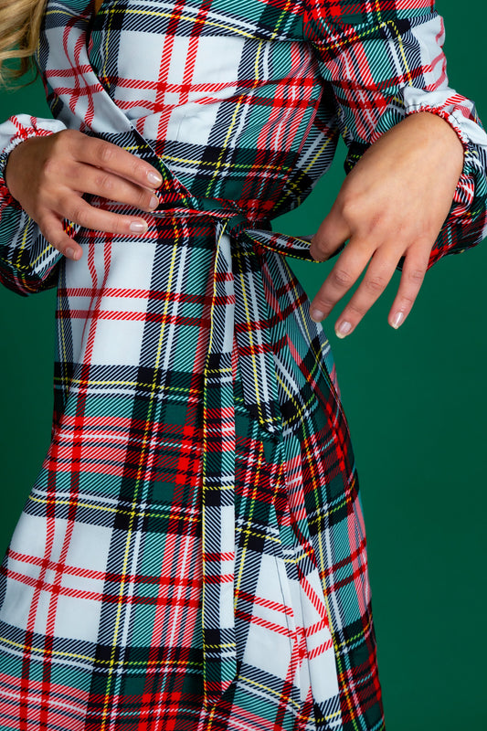 Red and Green Plaid Christmas Wrap Dress