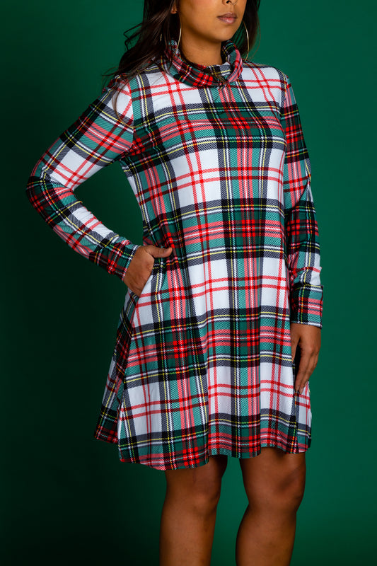 Green and White Plaid Xmas Turtleneck Dress for Women