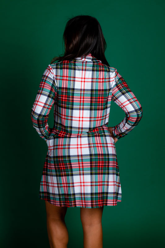 Womens Green and White Plaid Xmas Turtleneck Dress