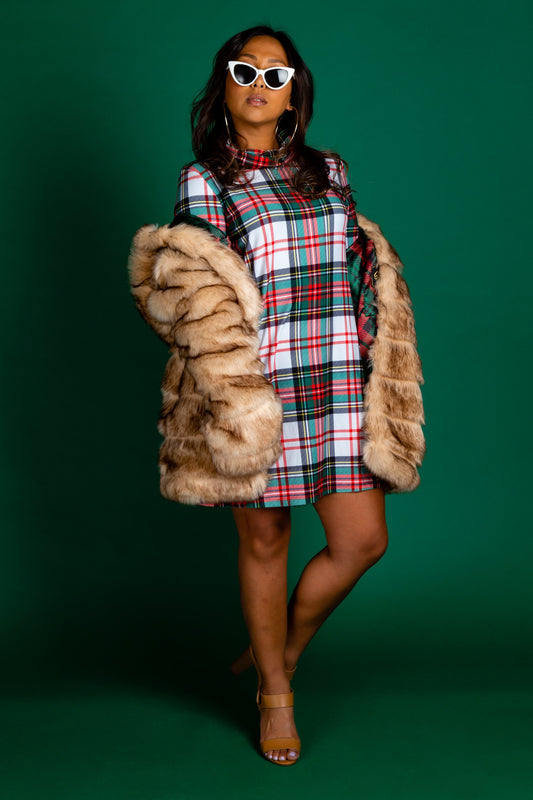 Christmas Plaid Turtleneck Dress
