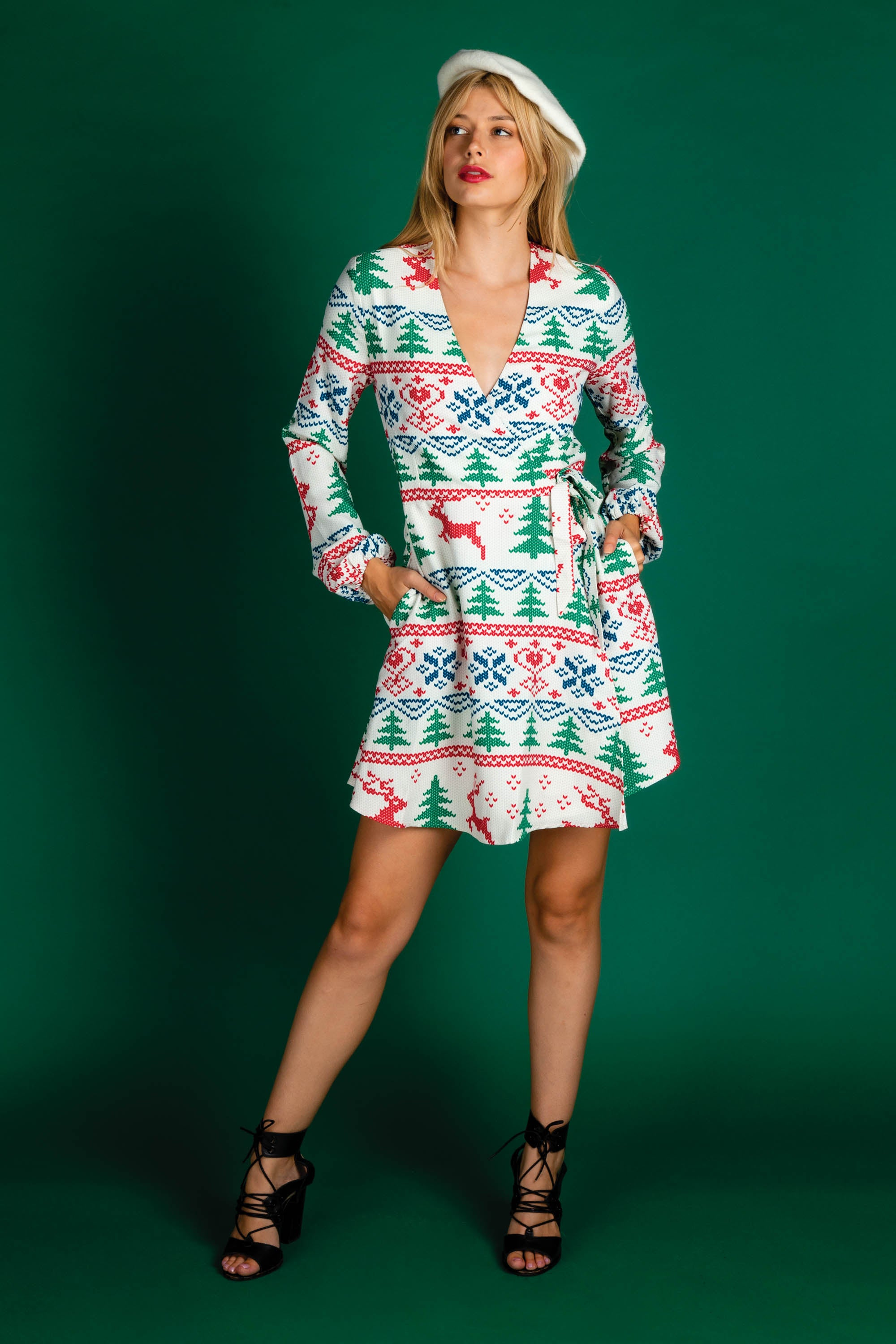 White Christmas Reindeer Wrap Dress The Offly White