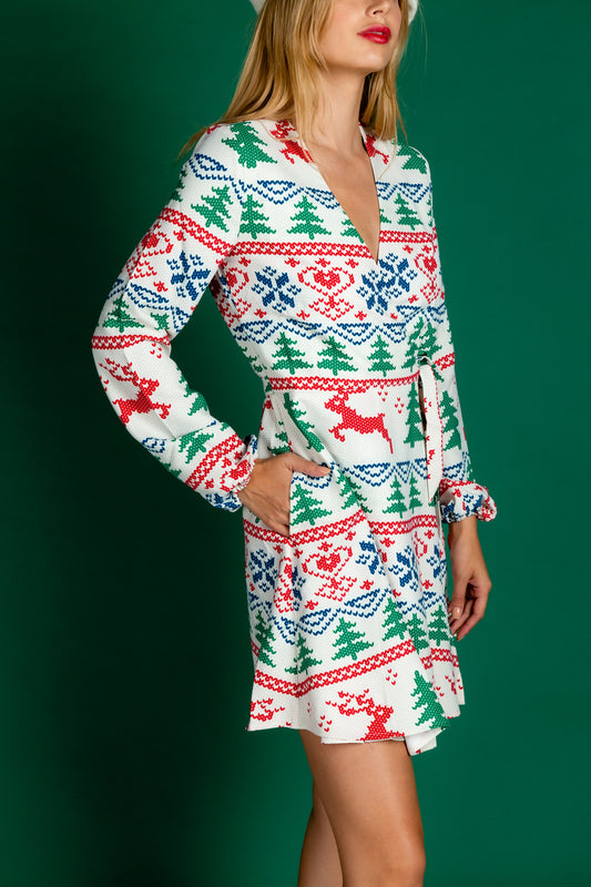 red white and green christmas dress