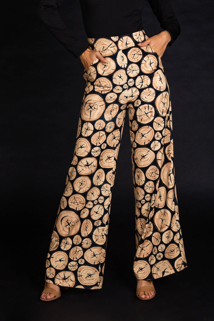 The Xmas Morning Wood | Women's Wood Print Suit Pants