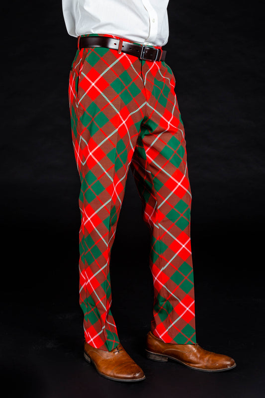 Poinsettia Plaid Playboy red and green plaid Christmas suit pants