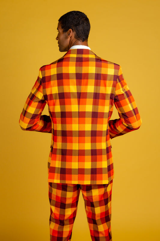 orange yellow and brown suit for men
