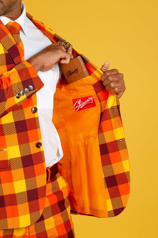 orange and yellow plaid thanksgiving suit