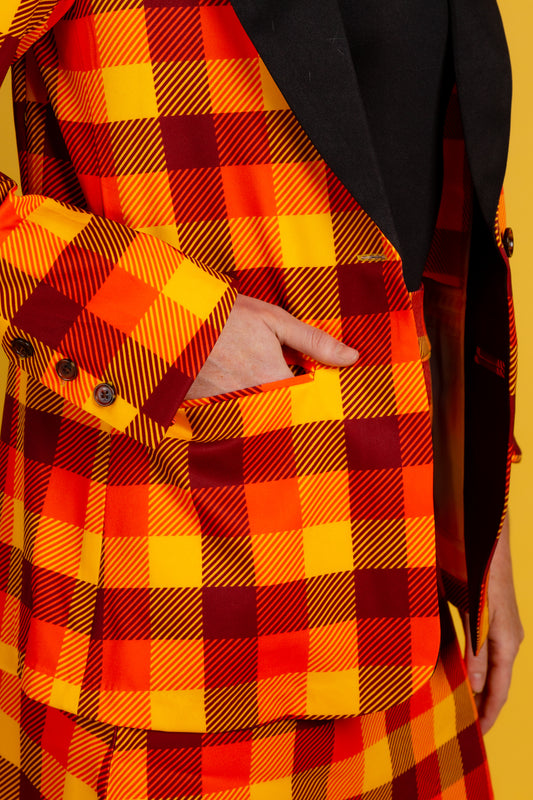 Womens Orange Plaid Thanksgiving Suit