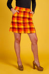 Ladies Orange and Yellow Plaid Thanksgiving Skirt