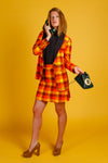 the 70s orange plaid suit for women