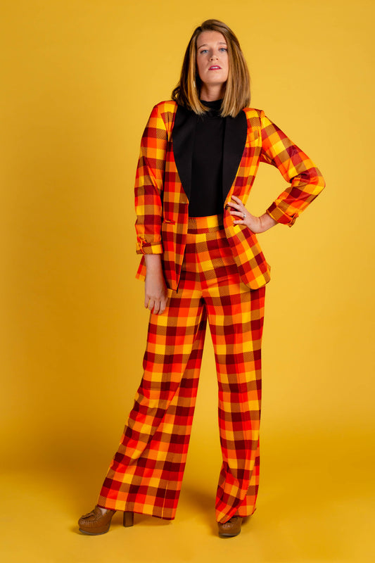 Ladies Orange and Yellow Thanksgiving Plaid Pants