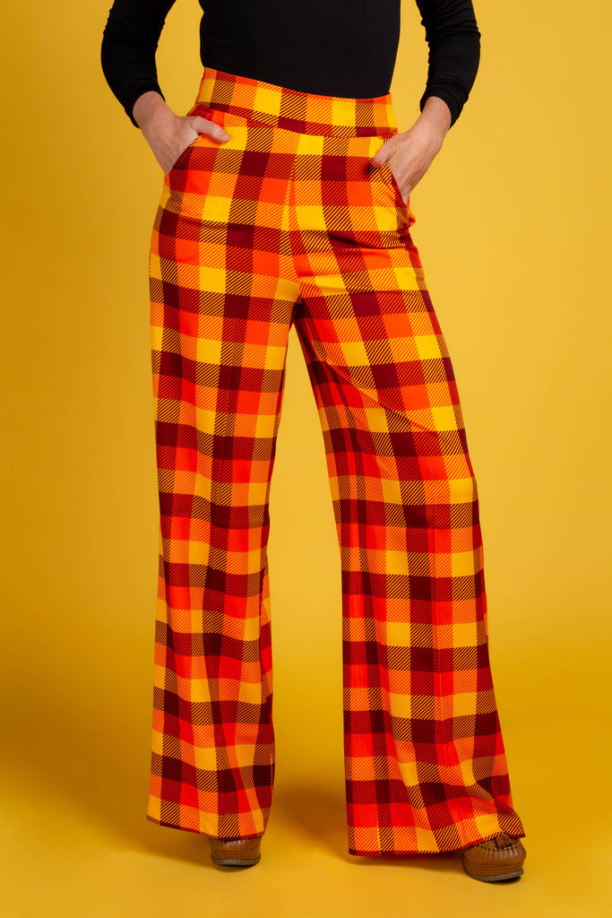 That 70s Suit | Womens Orange Plaid Thanksgiving Pants