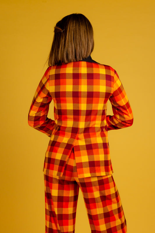 Womens Orange and Yellow Plaid Thanksgiving Blazer