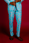 mens blue candy cane print christmas suit pants