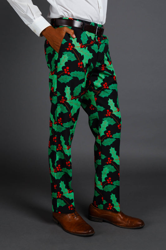 mens holly print christmas suit pants