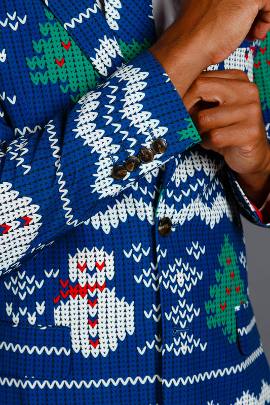 Guys Blue and White Christmas Jacket