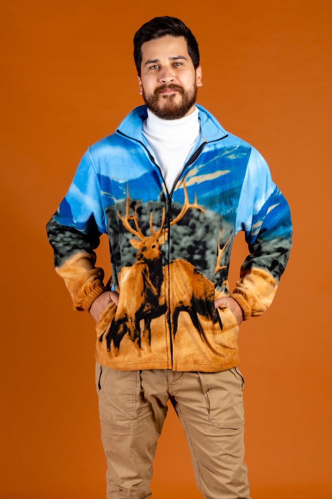 The Spirit of The Elk | Men's Elk Animal Print Fleece Jacket