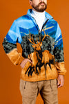 Blue Hunters Fleece With Elks