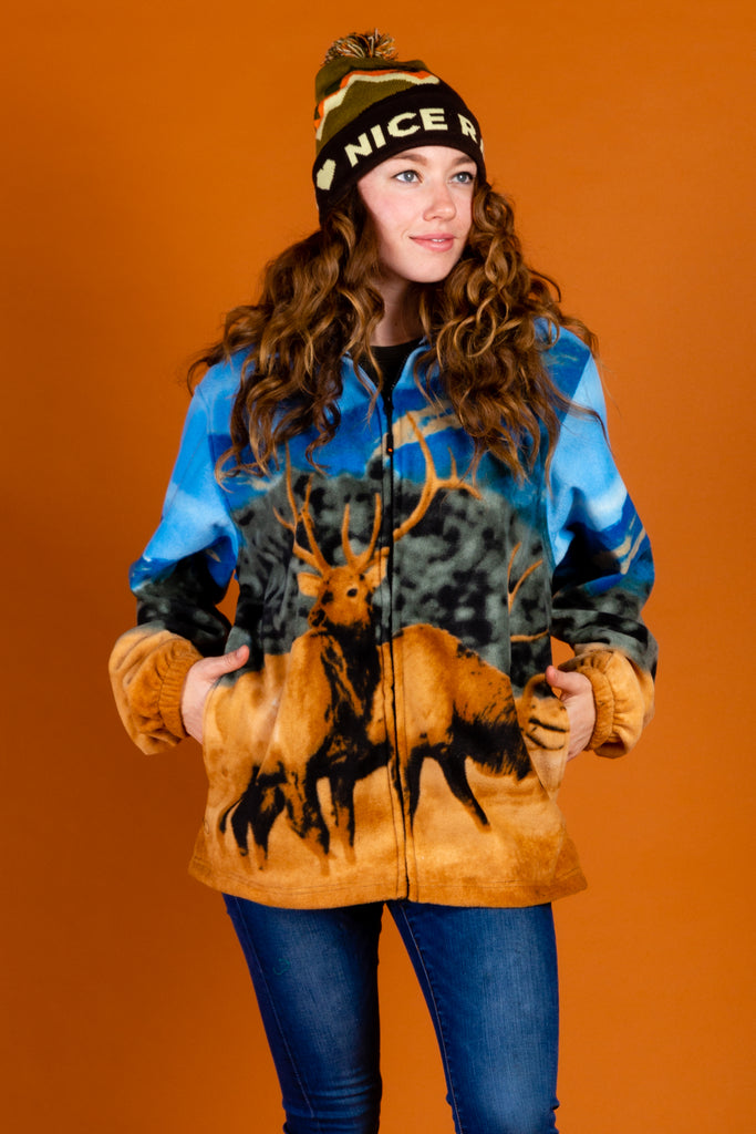 The Spirit of The Elk | Women's Elk Animal Print Fleece Jacket