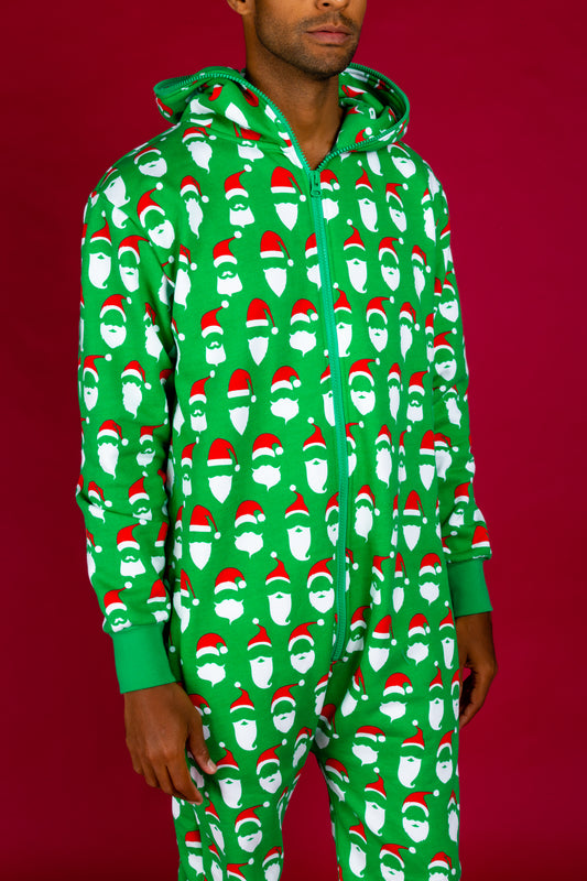 Green santa Christmas onesie for adults
