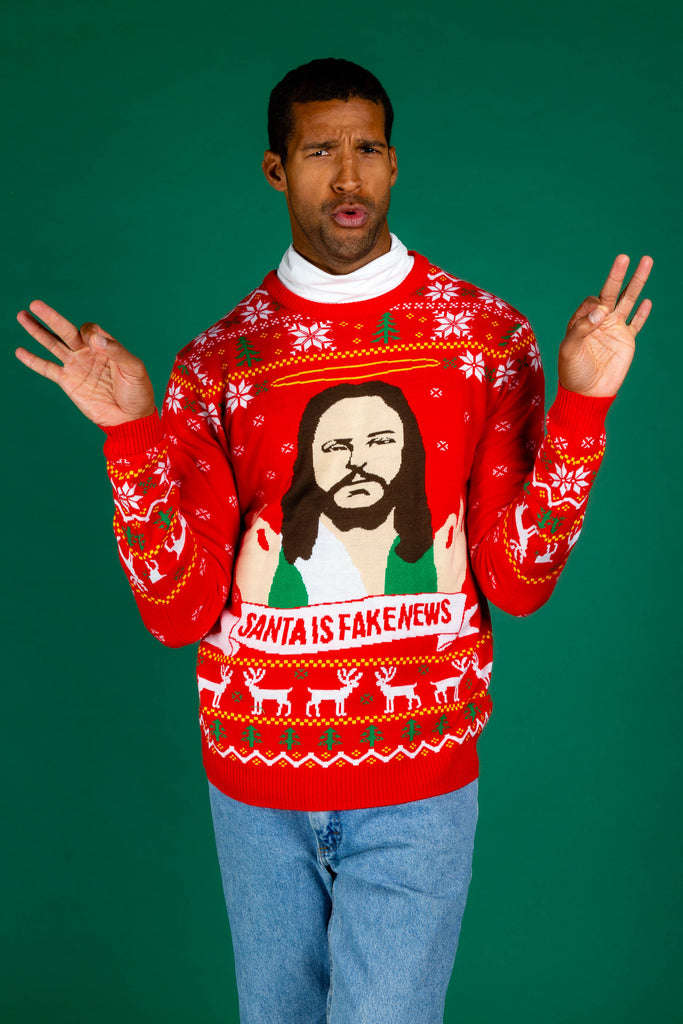 Santa Is Fake News | Men's Jesus Christ Xmas Sweater