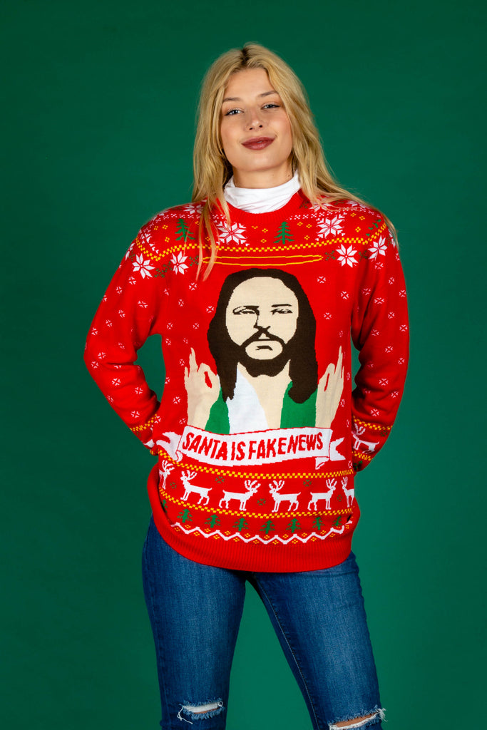 Santa Is Fake News | Women's Unisex Christmas Sweater